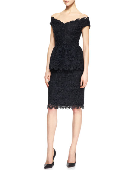 Straight Lace Skirt, Black