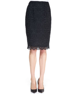 Lela Rose Straight Lace Skirt, Black