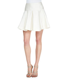 Lela Rose Drop-Waist Flounce Skirt, Ivory