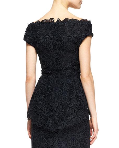 Off-the-Shoulder Wide V-Neck Lace Top, Black