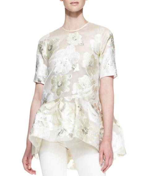 Short-Sleeve Gold Leaf Floral Blouse, Ivory/Metallic