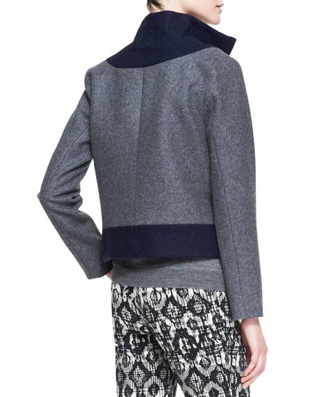 Colorblock Felt Coat with Zip-Off Hem, Charcoal/Navy