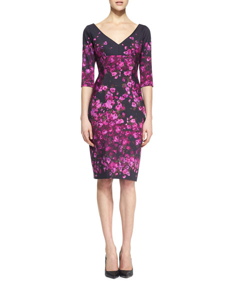 Half-Sleeve Floral-Print Dress, Magenta/Black