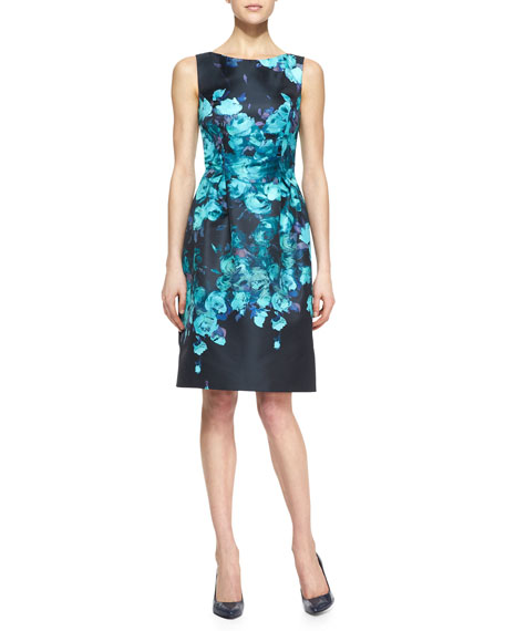 Sleeveless Floral Sheath Dress, Black/Mint