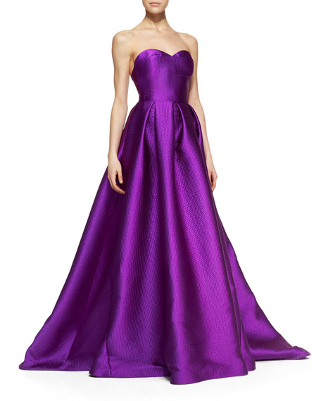 Strapless Basketweave Doupioni Gown with Full Skirt, Magenta