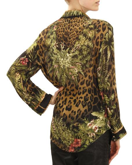 Long-Sleeve Leopard & Jungle Print Blouse, Khaki/Green/Brown