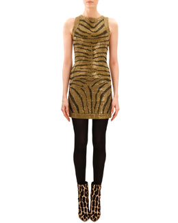 Balmain Beaded Tiger-Stripe Sleeveless Dress