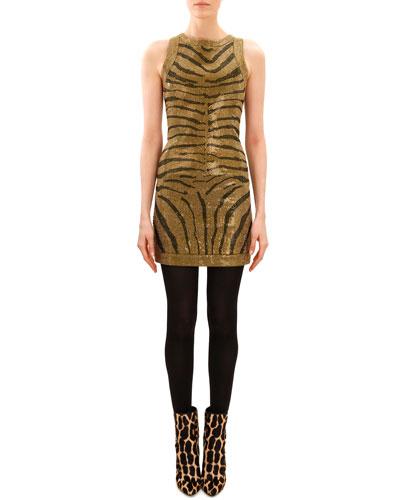 Balmain Beaded Tiger-Stripe Sleeveless Dress