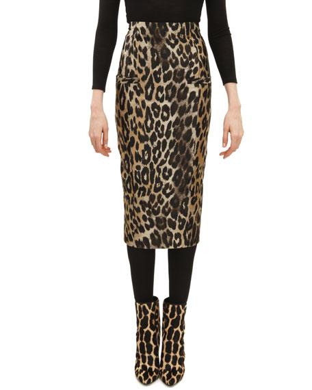 Leopard Jacquard Midi Pencil Skirt