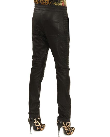 Drawstring Waist Leather Moto Pants, Noir (Black)