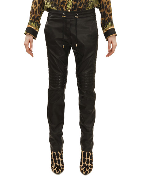 Balmain Drawstring Waist Leather Moto Pants, Noir (Black)