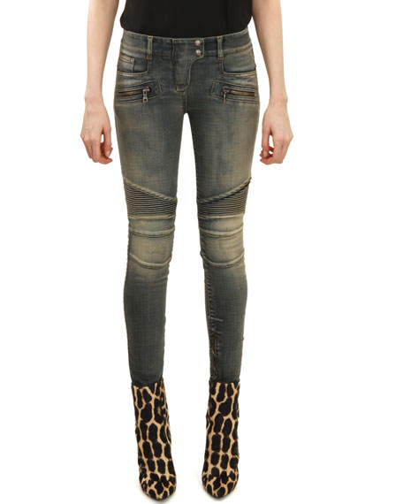 Skinny Moto Jeans, Faded Blue