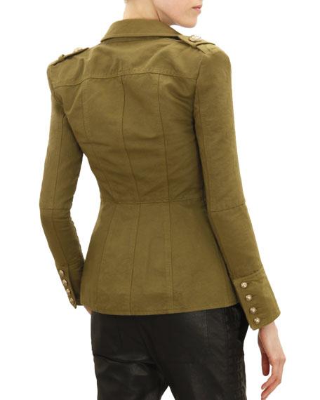 Three-Button Four-Pocket Military Jacket, Khaki Green