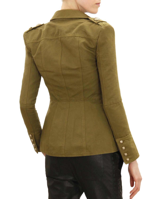 14226aa6e7c49 Balmain Three-Button Four-Pocket Military Jacket, Khaki Green | Neiman  Marcus
