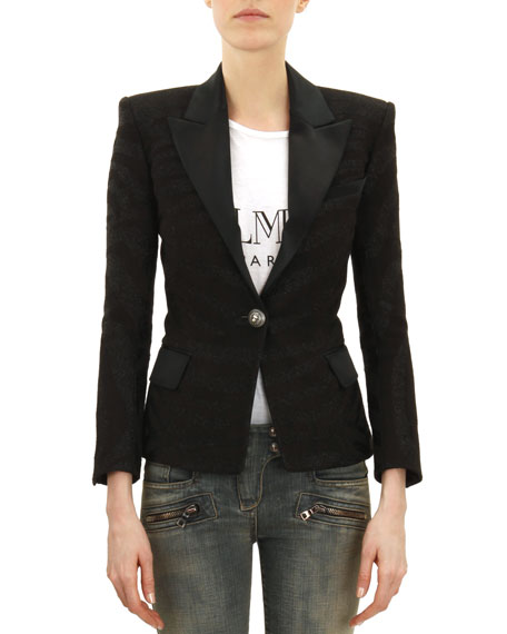 One-Button Satin Trimmed Jacket, Noir (Black)