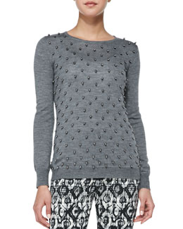Lela Rose Faux Pearl-Embroidered Top, Charcoal