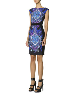Emilio Pucci Cap-Sleeve Printed-Front Sheath Dress, Multicolor
