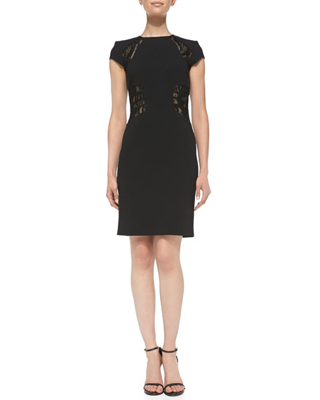Cap-Sleeve Sheer Lace-Insert Dress, Nero (Black)