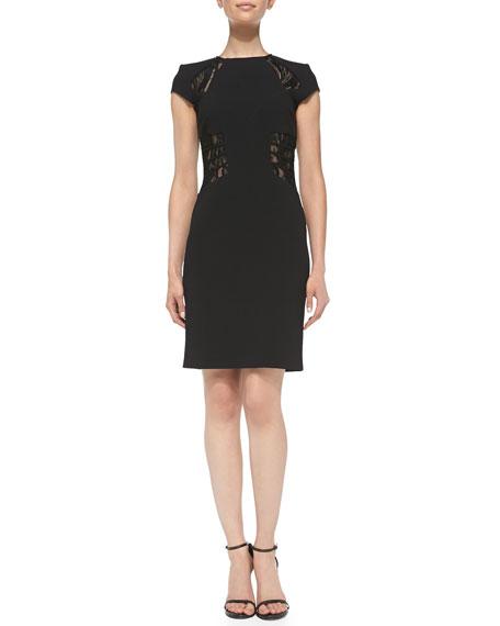 Cap-Sleeve Sheer Lace-Insert Dress, Nero (Black)