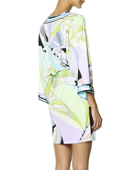 Long-Sleeve Printed Tie-Belt Dress, Multicolor