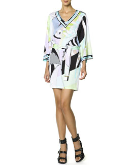 Emilio Pucci Long-Sleeve Printed Tie-Belt Dress, Multicolor