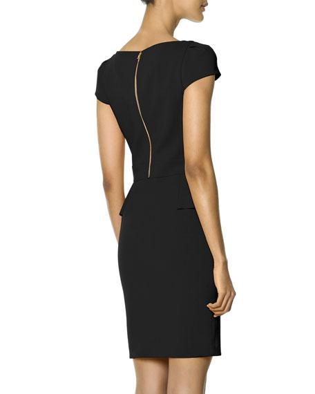 Cap-Sleeve Side-Cascade Ruffle Sheath Dress, Nero (Black)