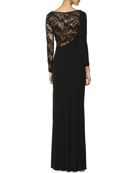 Long-Sleeve Asymmetric Lace-Yoke Gown, Nero (Black)