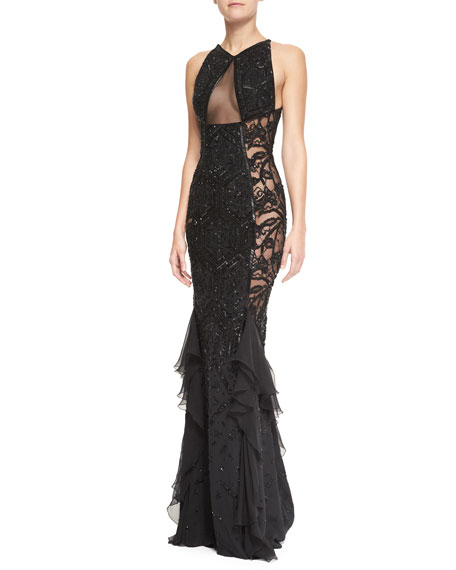 Beaded Lace & Sheer Panel Gown, Nero Black