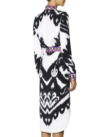 Long-Sleeve Printed Silk Shirtdress with Self Belt, Multicolor
