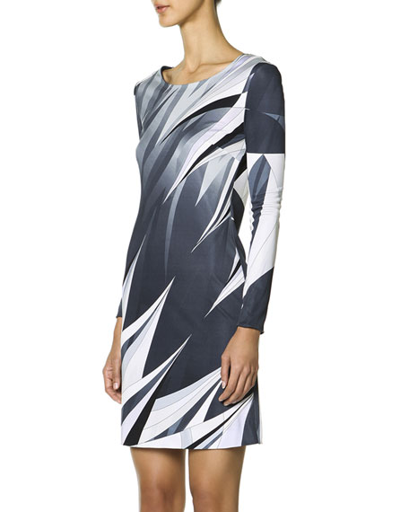 Long-Sleeve Printed T-Shirt Dress, Black/White