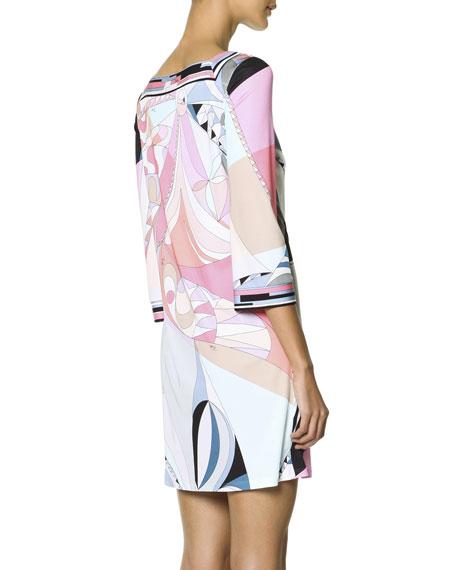 3/4-Sleeve Printed Shift Dress, Multicolor