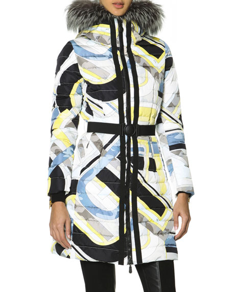 Belted Fur-Trimmed Hood Quilted Coat with Print, Multicolor