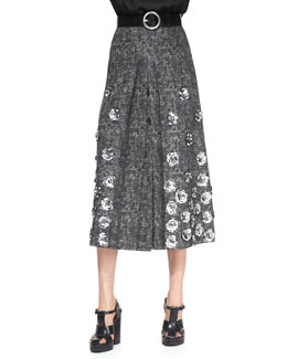 Michael Kors  Rose-Applique Wool Skirt