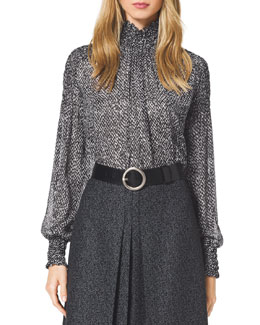 Michael Kors  Tweed-Print Chiffon Blouse