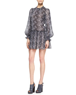 Michael Kors  Python-Print Drop-Waist Dress
