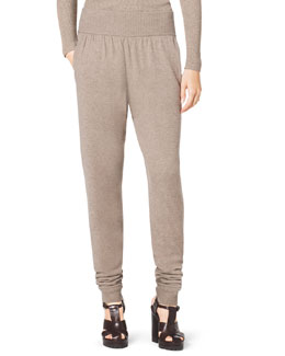 Michael Kors  Wide-Waist Cashmere Sweatpants