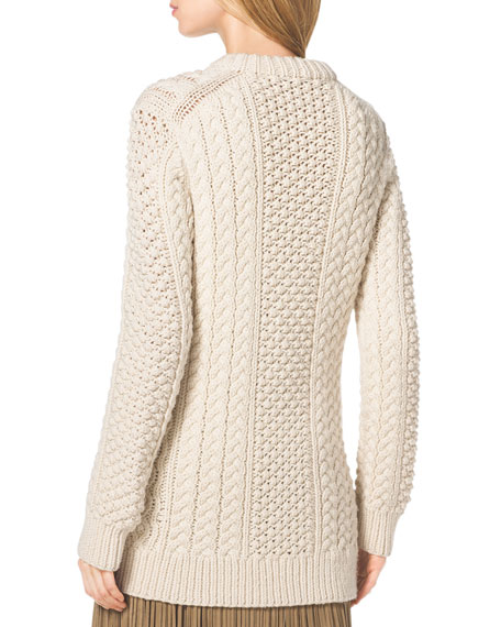 Mixed-Knit Wool Sweater