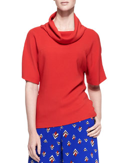 Carolina Herrera Short-Sleeve Knit Loose-Turtleneck Top, Lava Red