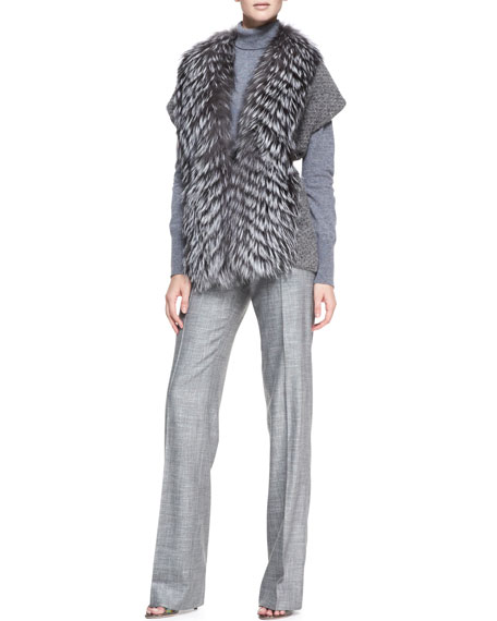Stretch Wool Straight-Leg Pants, Gray