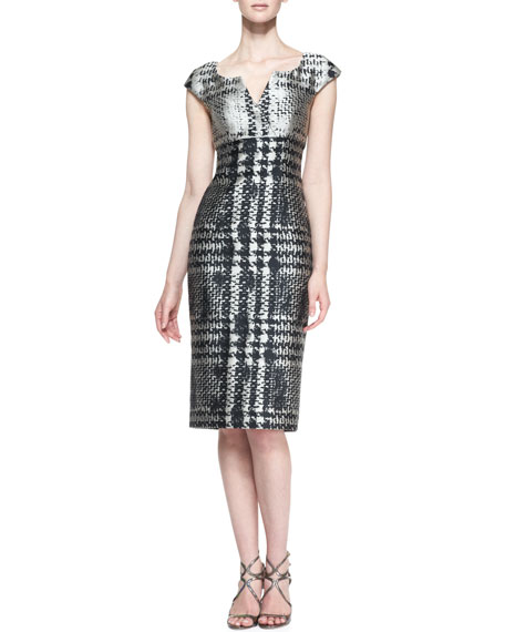 Cap-Sleeve Houndstooth Dress, Black/Beige