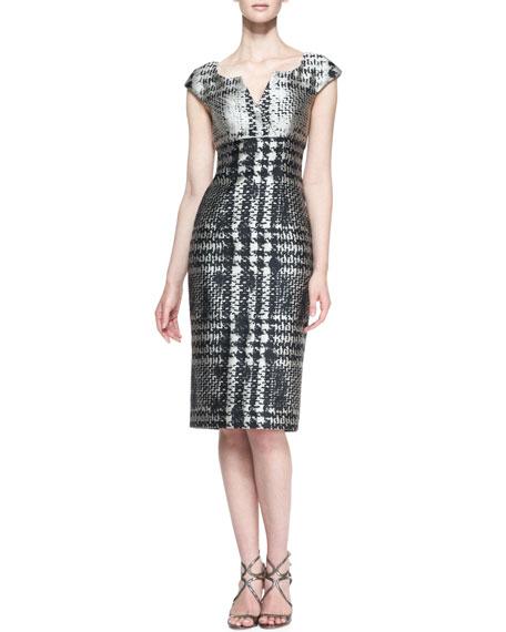 Cap-Sleeve Houndstooth Dress, Black/Beige