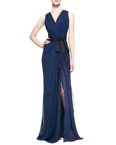 Sleeveless Silk Wrap Gown with Tie, Cobalt/Black