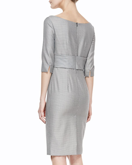 3/4-Sleeve Mini-Houndstooth Dress, Black/White