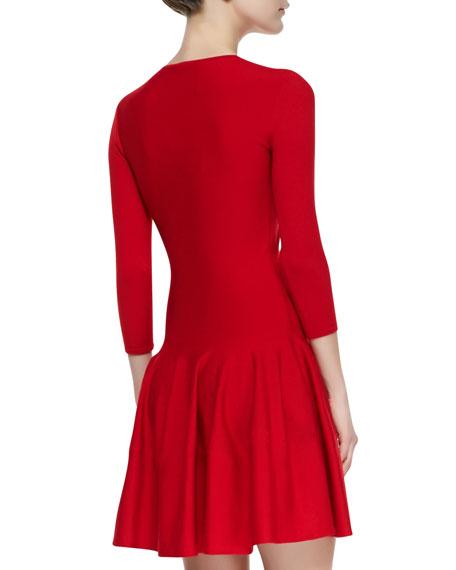 Jewel-Neck Dropped-Waist Dress, Red