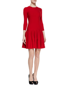 Alexander McQueen Jewel-Neck Dropped-Waist Dress, Red
