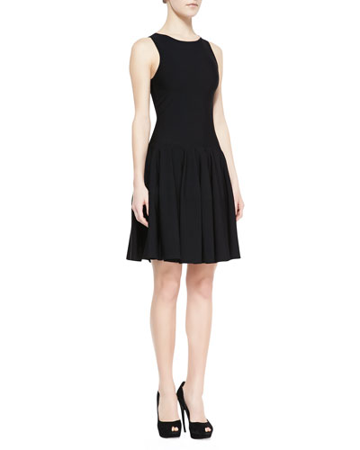 Alexander McQueen Sleeveless Dropped-Waist Dress, Black