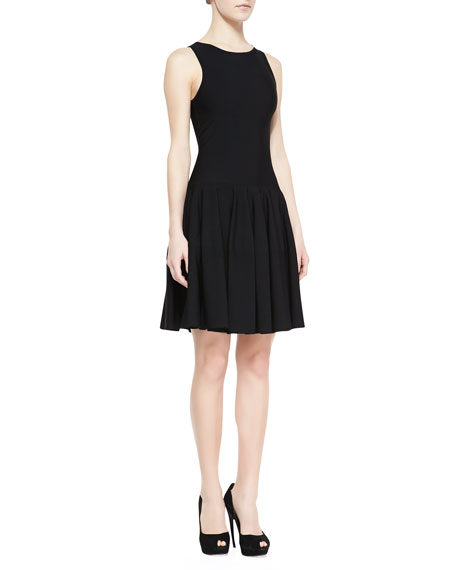 Sleeveless Dropped-Waist Dress, Black