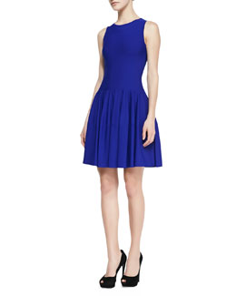 Alexander McQueen Sleeveless Dropped-Waist Dress, Royal Blue