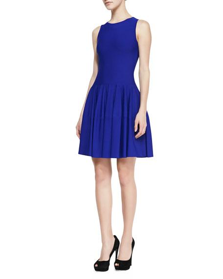 Sleeveless Dropped-Waist Dress, Royal Blue
