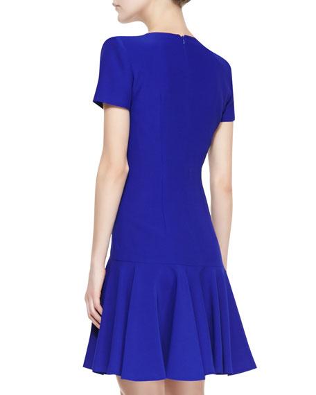 Split-V-Neck Dress with Short Sleeves, Royal Blue
